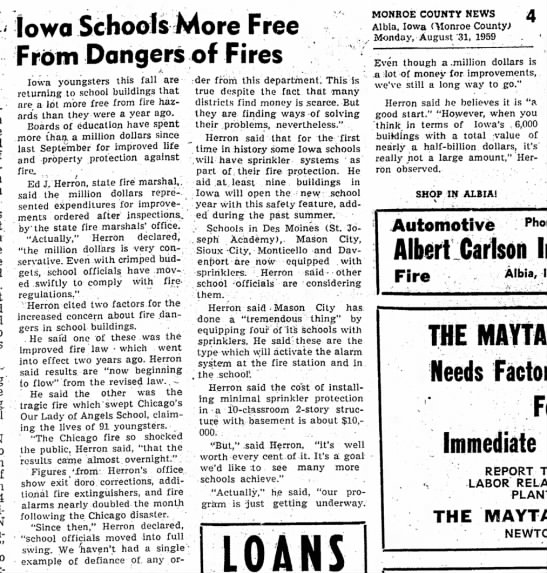 Edward Herron Iowa State Fire Marshall Aug 1959 - Iowa Schools More Free From Dangers of Fires...