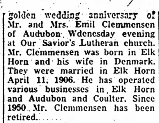 50th anni Emil Clemmensen - . golden \vcdding anniversary of Ir. and Mrs....