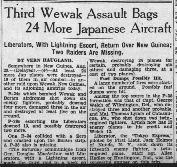Third Wewak Assault Bags 24 More Japanese Aircraft