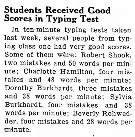 Dorothy & Sylvia Good Typing Scores - Students Received Good Scores in Typing Test In...