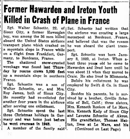 Sgt Walter Schuette - Fcrmer Hawarden and Ireton Youth Killed in...