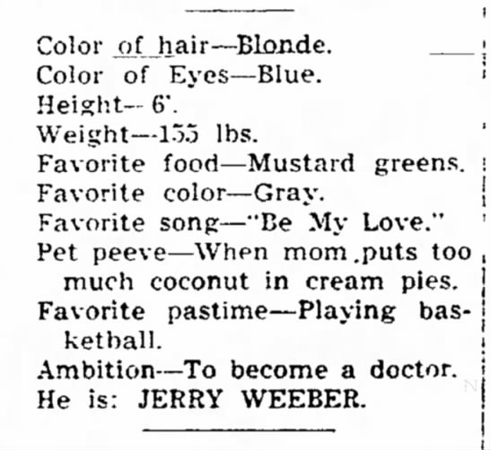 Graduate ambitions (Monroe Co. News 2 Apr. 1951) - Color x'-Uiair--Blonde. Color of Eyes--Blue....