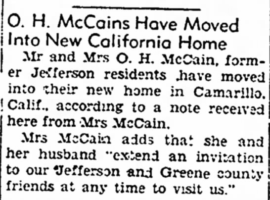 - °- H - McCains Hove Moved Into New California...