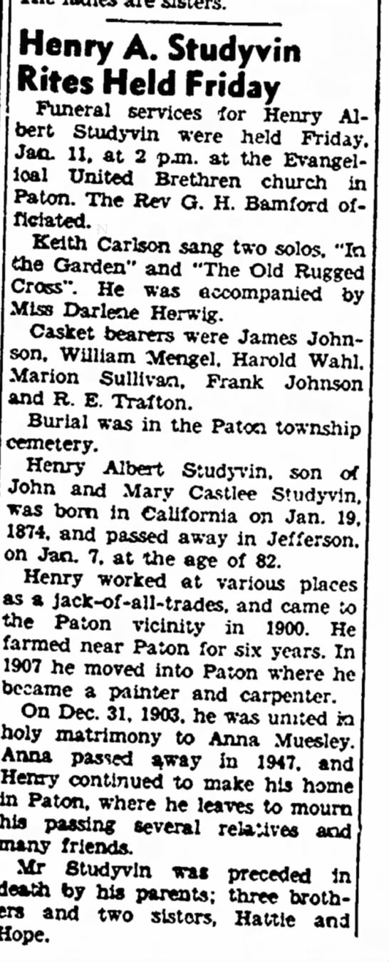 - Henry A. Studyvin Rites Held Friday Funeral...