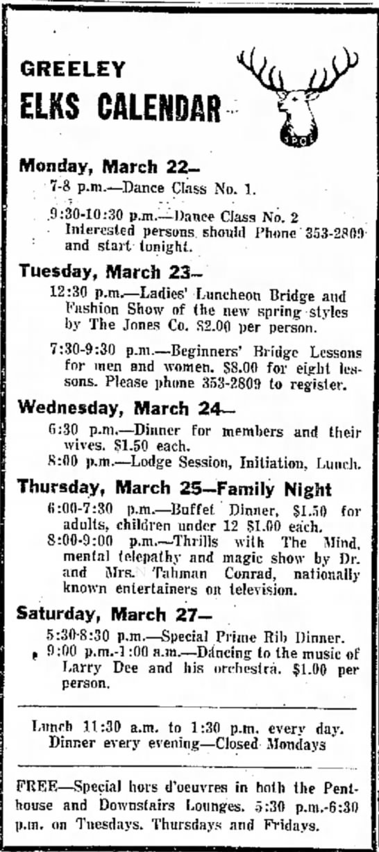 Greeley Daily Tribune - Greeley Colorado 22 March 1965 - Tahman Conrad - GREELEY ELKS CALENDAR Monday, March 227-8 227-8...