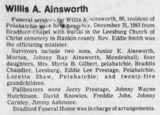 "Obituary for Willis A Ainsworth - Willis A. Ainsworth Funeral servi"" (or Willis..."