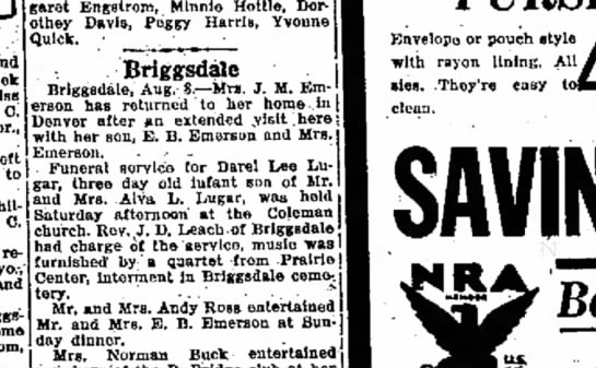 infant lugar funeral 8 aug 1933 - week Miss R. C. servic, for Dare! Lee Lu to and...