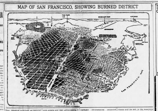 Map of San Francisco, showing burned district, 1906 - ; MAP OF SAN FRANCISCO, SHOWING BURNED DISTRICT...