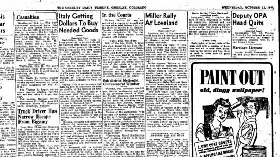 lugar, missing wed, oct ll,1944 - THE GREELEY DAILY TRIBUNE. GREELEY. COLORADO...