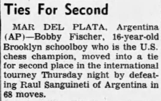 Ties For Second - Ties For Second MAR DEL. PLATA, Argentina (AP)...