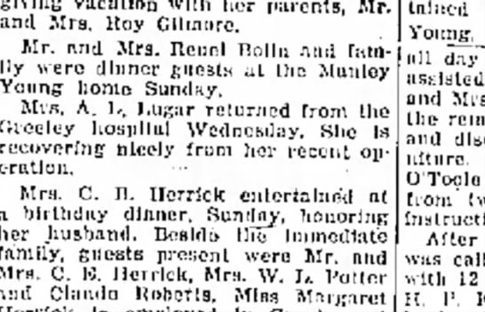 mrs lugar,operation 5 dec 1939 - son giving vacation wllh her parents, Mr. and...