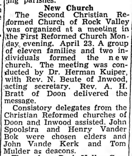 Spoolstra, John 19510510 Article Iowa - New Church The Second Christian Re(formed...