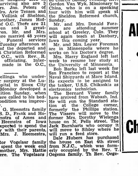 Jack Barnhart - 28 Jun 1951 - Alton Democrat, Iowa - Sui-viving also are 3 Jno. Peters of Arie...