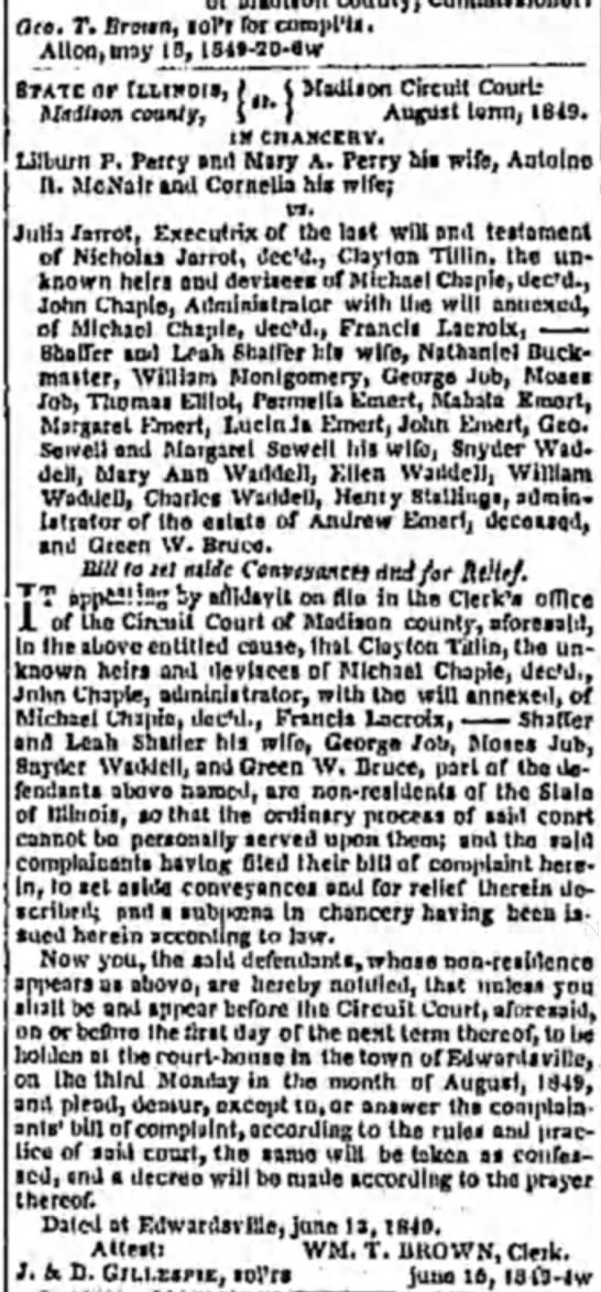 Andrew Emert, estate announcement, Alton Telegraph, 22 June 1849 - Oeo, r. Drown, sol'r for compl'Is. Alton,may...