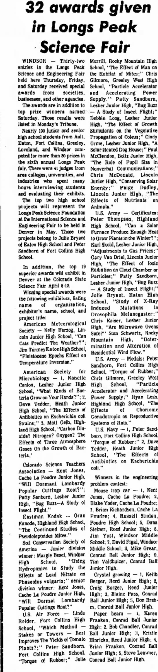 Blake Yoder March 10th, 1976 Greeley Daily Tribune - 32 awards o/ven 9* in Longs Peak Science Fair...