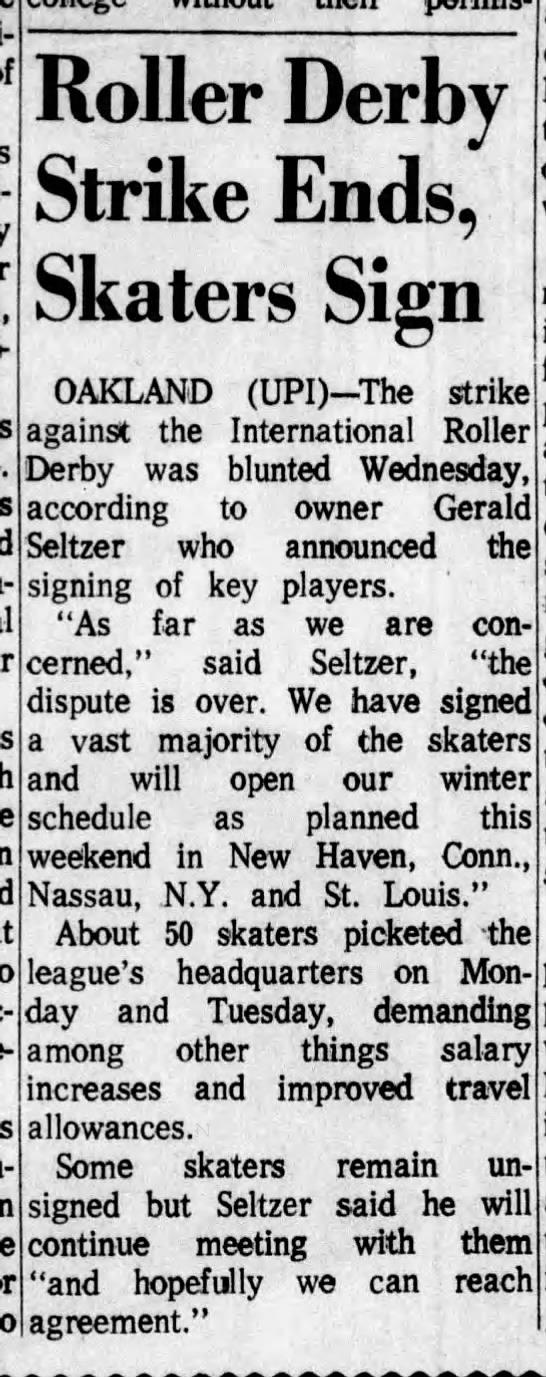10-26-72 The Muncie Star - Roller Derby Strike Ends, Skaters Sign OAKLAND...
