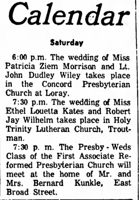 MORRISON-WILEY wedding notice - Calendar Saturday 6:00 p.m. The wedding of Miss...