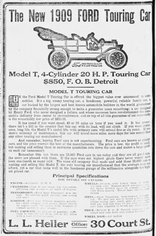 1908 Ford Model T ad - j j Endi-cott-Johnson Tues-, Tues-, I if? ' 1 I...