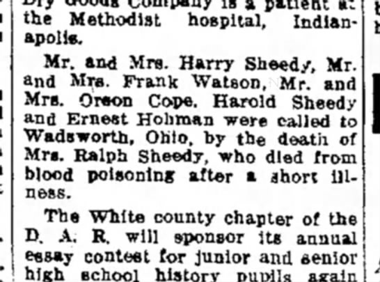 Bernice Sheedy died before 13 Jan 1934 - the Methodist hospital, Indianapolis....