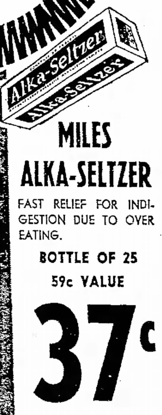 Alka-Seltzer-1964 - MILES ALKA-SELTZER FAST RELIEF FOR INDIGESTION...