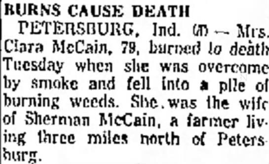 - BURNS CAUSE DEATH PETERSBURG, Ind. Ml -- Clara...