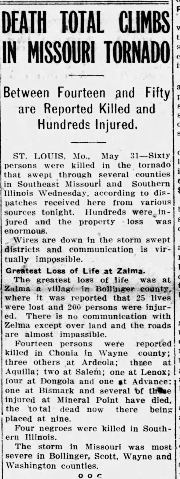 Deadly Storm at Zalma, Missouri. June 1,1917
