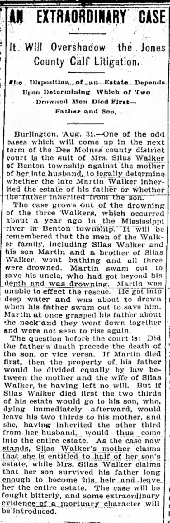 Walker Drowning Lawsuit - Hawarden Independent - 5 Sep 1895