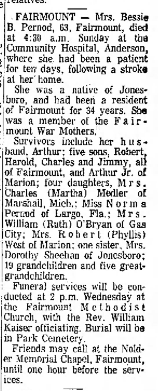 Bessie B Pernod Obit Anderson Herald 23 Aug 1966 - r b , at was Durbin of h o d i s t bookkeeper....