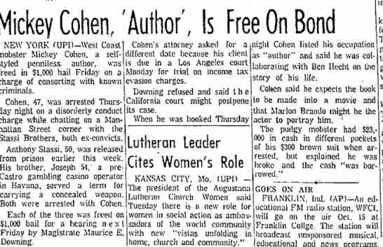 "UPI story in Anderson Herald, October 2, 1960 ""author"" Cohen still claiming book with Hecht