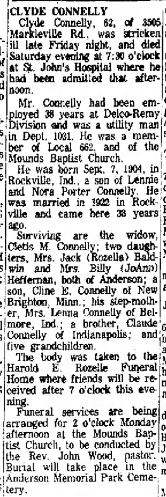 Clyde Connelly Obit 10.2.1966