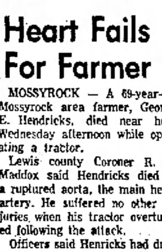 E.Hendricks, d.1958 - Blowrah Ms- t r e h e Heart Fails For Farmer...