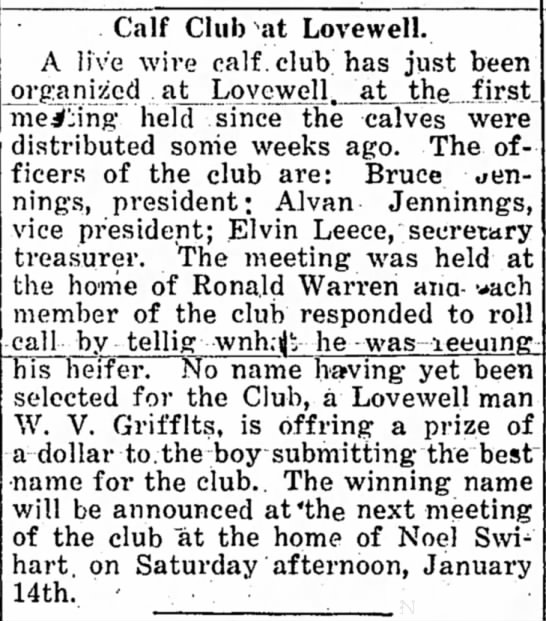 Lovewell calf club, December 22, 1921 - Calf Club at Lovewell. A live wire calf, club...