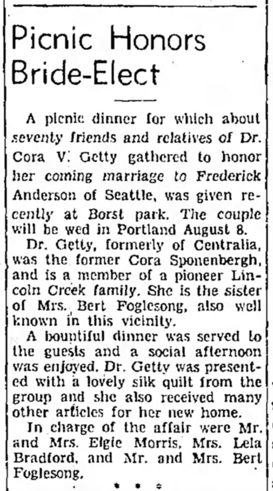 Fred & Cora Anderson - Picnic Honors Bride-Elect A picnic dinner for...