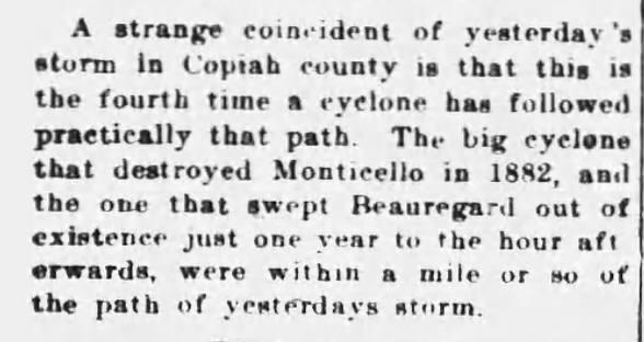 1908 tornado article discusses previous ones CL Feb 1