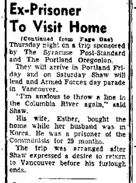 POW Shaw Centralia 1a - Ex-Prisoner To Visit Home (Continued from Tf*...