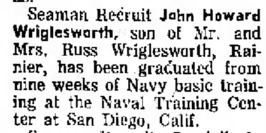 John Wriglesworth - Seaman Kemiil John Howard Wriglesworth, son of...