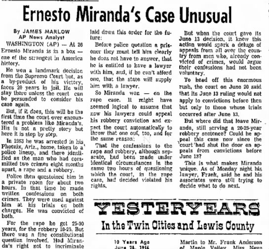 - in is m Ernesto Miranda's Case Unusual By JAMES...