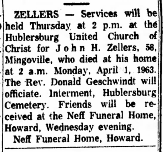 John Zellers services Apr 3 1963 Express - ZELLERS — Services will b€ held Thursday at 2...
