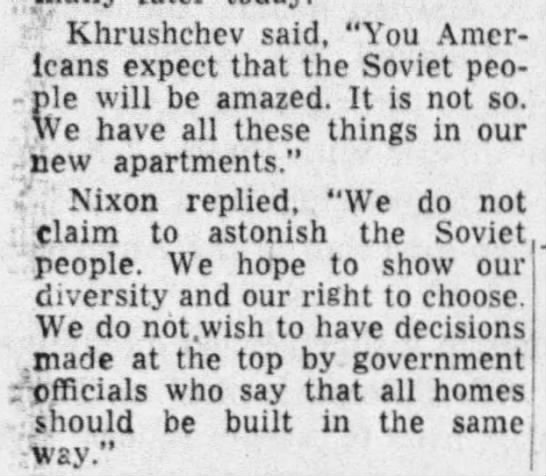 """Nixon touts diversity and right to choose in American housing - Khrushchev said, """"You Americans Americans..."""