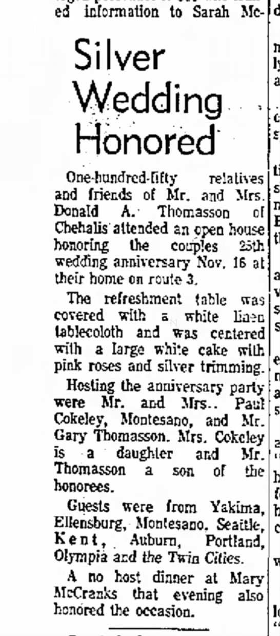 Donald Alvin ThomassonThe Dailey Chronicle 12-15-1969 page 5 - leaked information to Sarah Me- Silver Wedding...