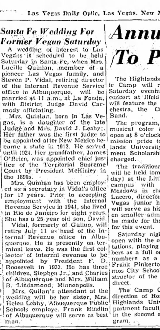 Lucille Quinlan re weds 12 June 1958L V Daily Optic