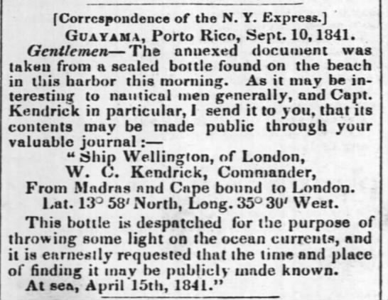 Guayama message in a bottle - f Correspondence of the N. Y. Express. '...
