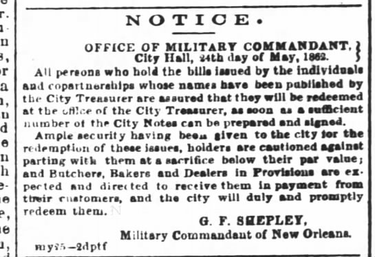 - a NOTICE. OFFICE OF MILITARY COMMANDANT. 1 City...