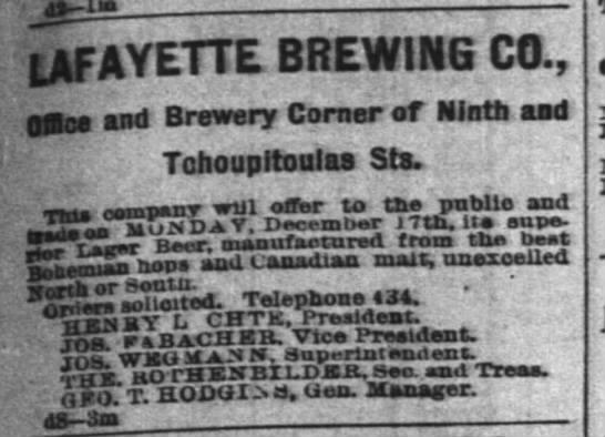 Lafayette Brewery Ad  tp 12-8-1888 pg 5 - )J i LAFAYETTE BREWiriG CO., C2o nd Brewery...