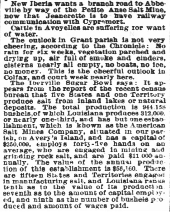 The Times-Picayune (New Orleans) Sept. 5, 1881 - New Iberia wants a branch road to - Abbeville...