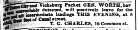 Packet General Worth, 15 Oct 1850 - Jcawtad Tickabarg Packet GEN. WORTH, harr reir...
