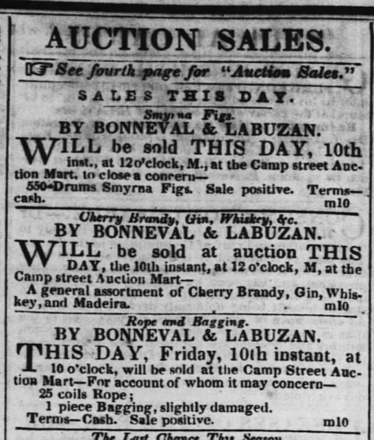 10 May, 1844 Times-Picayune - nmnM AUCTION SATiES. KTSce fourth page for...