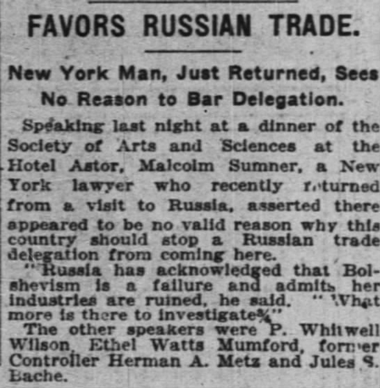 The New York Times (New York, New York) 23 November 1922  Page 3 - FAVORS RUSSIAN TRADE. New York Man, Just...