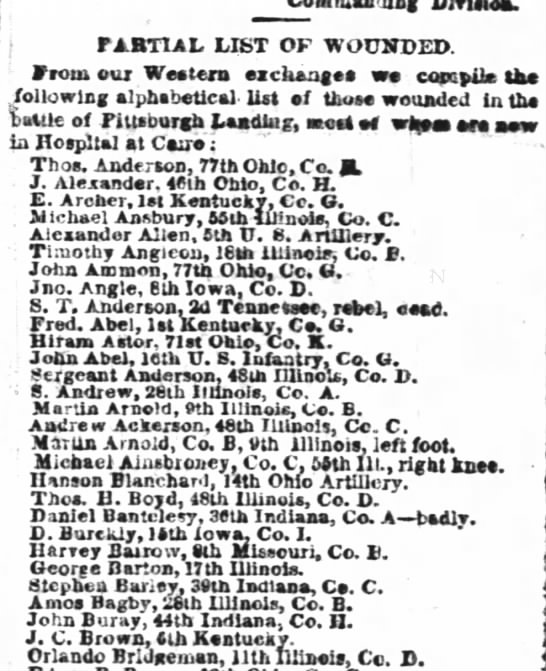 Martin Arnold in Civil War? - j PARTIAL LIST OF WOUNDED. 1 From our Wee tern...