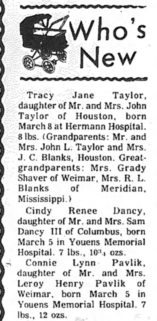 Connie Lynn Pavlik Birth Announcement